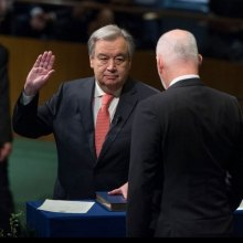 Ban-ki-Moon - Taking oath of office, António Guterres pledges to work for peace, development and a reformed United Nations