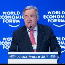 poverty - At Davos forum, UN chief Guterres calls businesses 'best allies' to curb climate change, poverty
