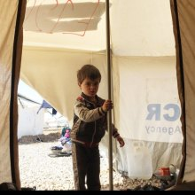 unhcr - UN agency expanding camps around Mosul to cope with surge in displacement [This three-year-old boy arrived just two days ago at one of UNHCR's camps for displaced families fleeing conflict in West Mosul. Photo: UNHCR/Caroline Gluck]